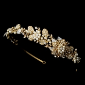 Headpiece 8279 Gold Clear White Potato Pearl