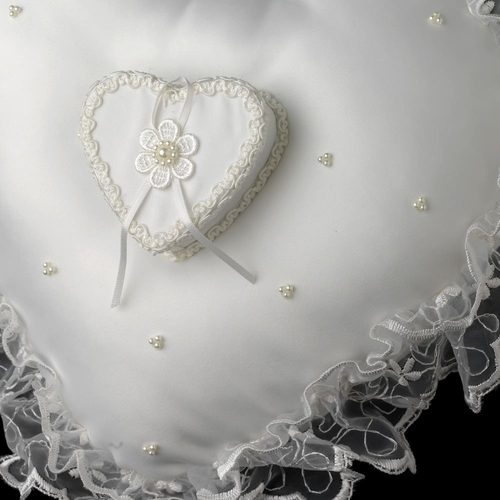 Heart Shaped Lace Ribbon & Sheer Organza Ring Pillow 422 w/ Pearl Accents