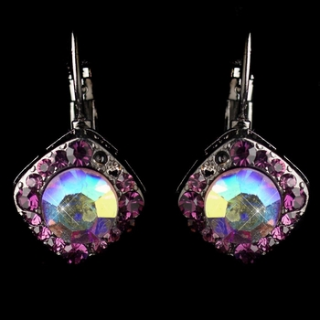 Hematite Amethyst AB Rhinestone French Clip Earrings 1003