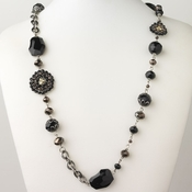 Hematite Black & Brown Faceted Cut Glass Fashion Necklace 9508