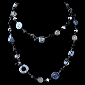 Hematite Black & Smoke Faceted Cut Glass & Stone Necklace