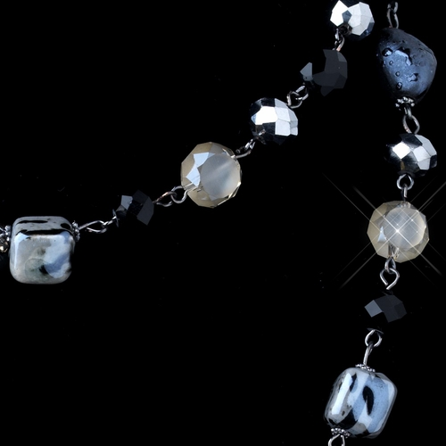 Hematite Blue & Smoke Faceted Cut Glass & Stone Necklace