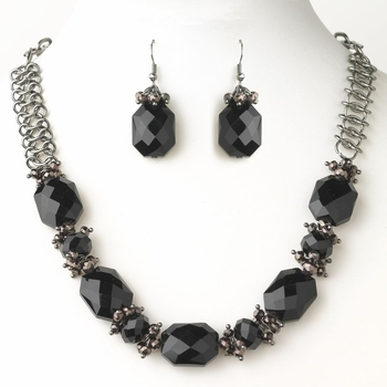 Hematite Black & Smoked Faceted Chunky Glass Cut Bridal Wedding Fashion Jewelry Set 9517