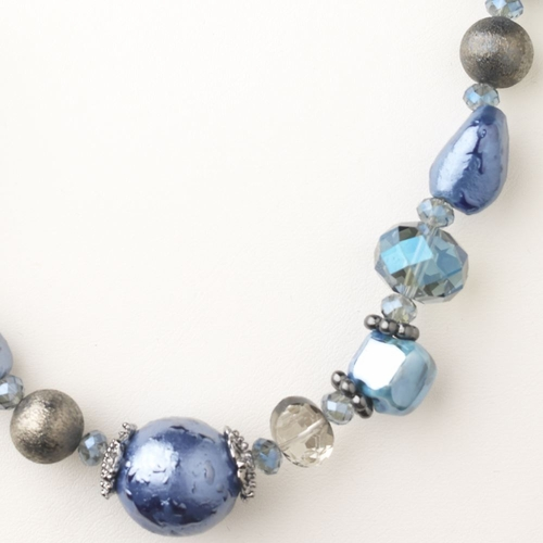 Hematite Blue Faceted Cut Glass Fashion Necklace 9511