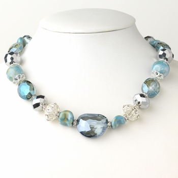 Hematite Blue Faceted Cut Glass Fashion Necklace 9519