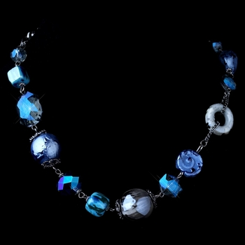 Hematite Blue Faceted Cut Glass & Stone Necklace