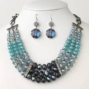 Hematite Blue Glass Faceted Bridal Wedding Jewelry Set 9520 9529