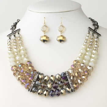 Hematite & Gold Topaz AB Cream Glass Faceted Bridal Wedding Jewelry Set 9520 9521