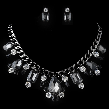 Hematite Smoke, Black & Clear Multi Cut Rhinestone Chain Jewelry Set 82049