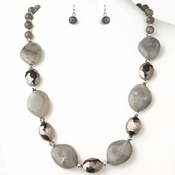 Hematite Smoke Black Diamond Stone And Faceted Beaded Fashion Jewelry Set 9506