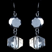 Hematite Smoke Diamond Faceted Glass Drop Earrings