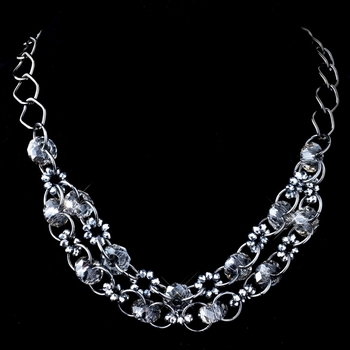 Hematite Smoke Multi Faceted Rondelle Swarovski Crystal Bead Necklace***1 Left***