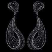 Hematite Smoke Rhinestone Dangle Earrings 9893