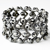 Hematite Smoked Crystal Bridal Stretch Cuff Bracelet 8691