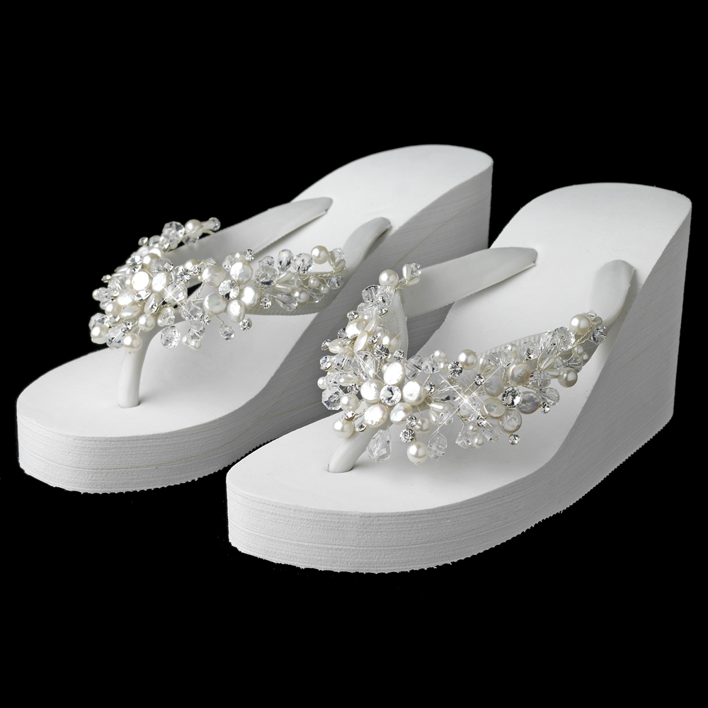 fa733f590 High Wedge Flip Flops with Crystal   Freshwater Coin Pearl Accents