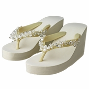 b057483044029 Floral Vine High Wedge Flip Flops with Crystal   Freshwater Pearl Accents
