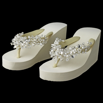 High Wedge Flip Flops with Crystal & Pearl Accents