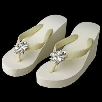 High Wedge Flip Flops with Multi Cut Rhinestones