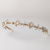Light Gold Tiara With Opals and Crystals 4872