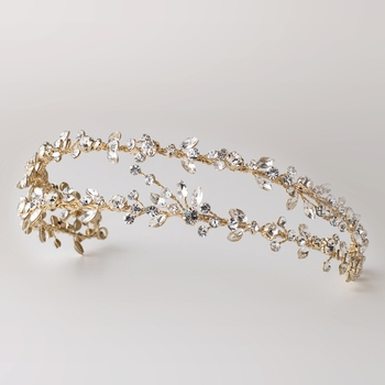 Light Gold Clear Rhinestone Double Vine Headband 4880