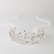 Silver Opal Vine Headband with Light Ivory Organza Ribbon 6453