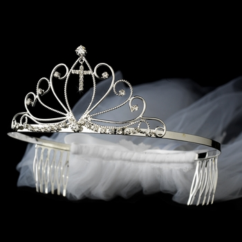 Communion Veil with Attached Silver Rhinestone Cross Headpiece in Silver 490