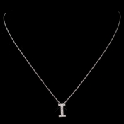 """i"" Sterling Silver CZ Crystal Initial Necklace 4407"
