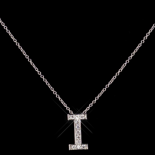 """""""i"""" Sterling Silver CZ Crystal Initial Necklace 4407"""