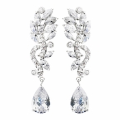 Immaculate Silver Clear CZ Dangle Earrings 8635