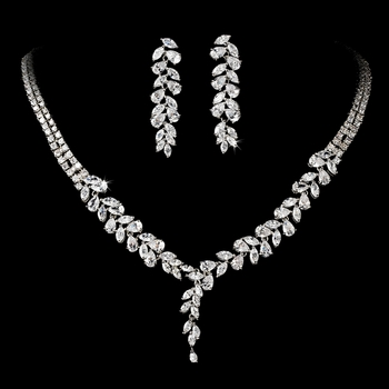 Intricate Cubic Zirconium Crystal Leaf Bridal Necklace & Earring Jewelry Set - NE 2584