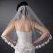Intricate Single Layer Veil with Flower Embroidery Edge in Fingertip Length V 591 1F