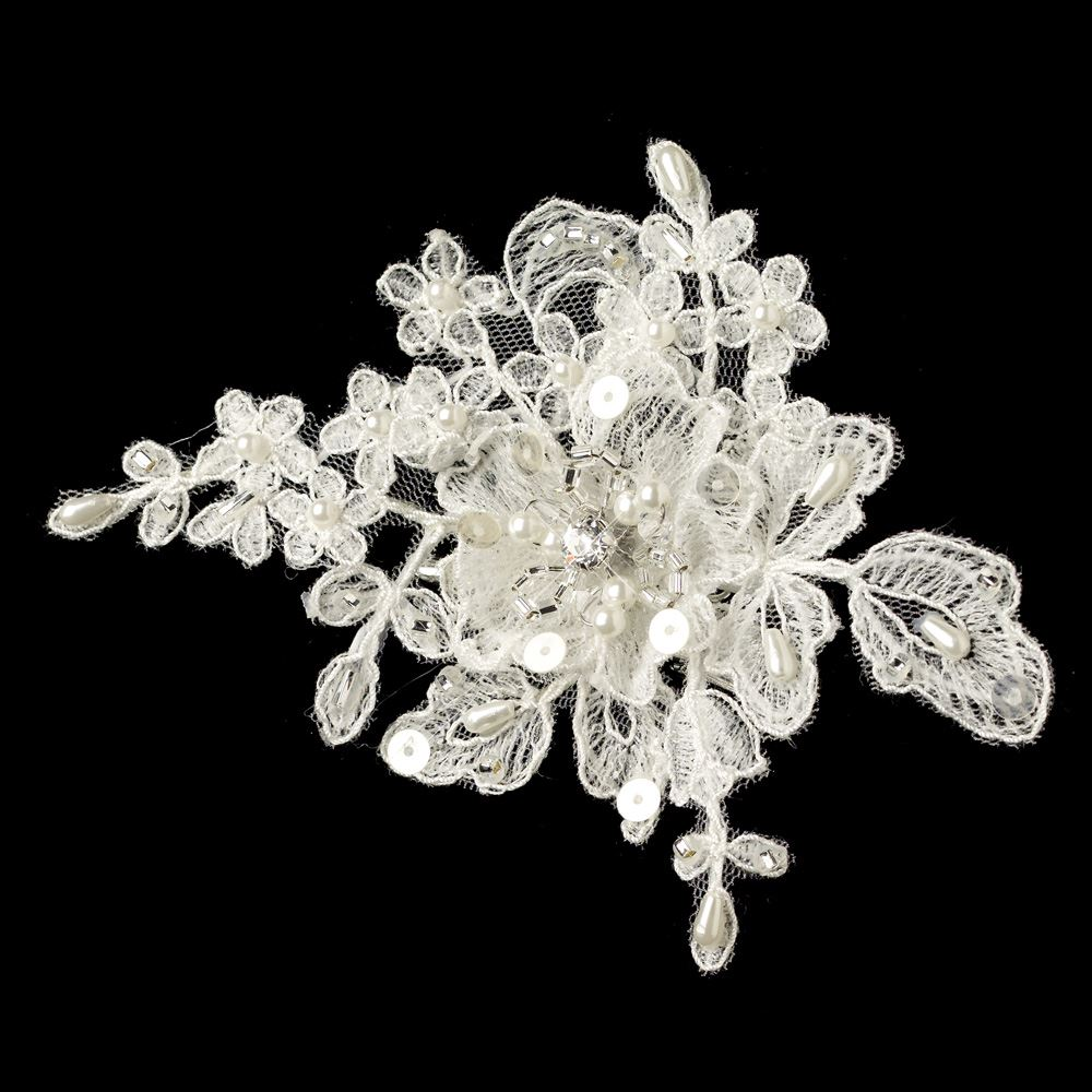 Ivory Flower Hair Clip Wedding: Ivory Floral Lace Embroidered Hair Accent Hair Clip 3108 W