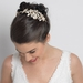 Ivory Flower Rhinestone Side Accented Gold Headband 2606