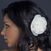 Ivory Flower With Feather Accent & Rhodium Silver Plated Rhinestone Cluster Clip 103