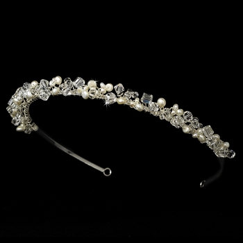 * Headband with Ivory Freshwater Pearl & Swarovski Crystal Bead Accents