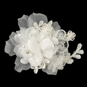 Ivory Organza Floral Lace Hair Flower Clip 3047 w/ Pearls, Rhinestones & Crystals