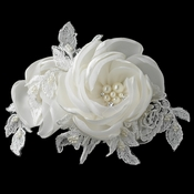 Ivory Satin Lace Tulle Rose Clip with Pearl & Rhinestone Accents