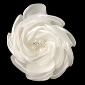 Ivory Satin & Organza Flower With Pearl & Rhinestone Center Clip 104