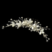 Crystal & Ivory Mother of Pearl Shell Bridal hair comb 8133