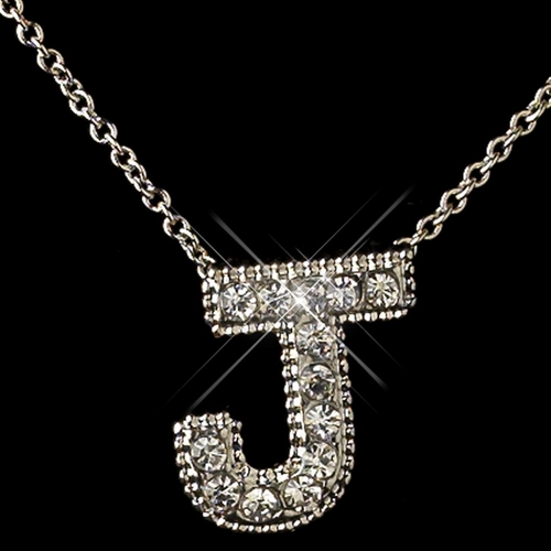 """""""J"""" Clear Rhinestone Letter Initial Pendant Necklace 1"""