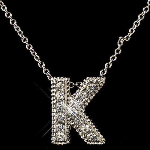"""""""K"""" Clear Rhinestone Letter Initial Pendant Necklace 1"""