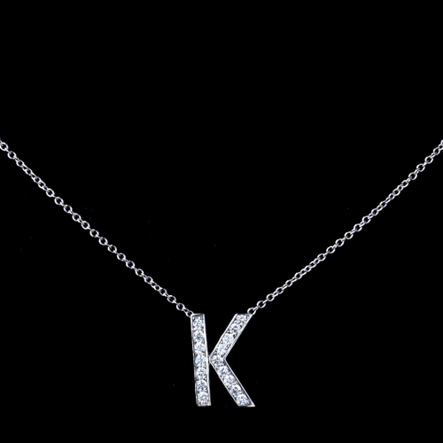 """K"" Sterling Silver CZ Crystal Initial Necklace"