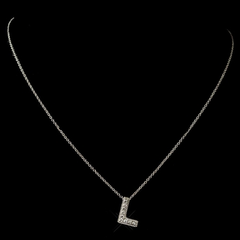 """""""L"""" Clear Rhinestone Letter Initial Pendant Necklace 1"""