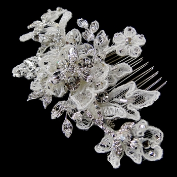 Lace Floral Rhinestone Hair Comb 4386