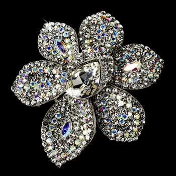 Large Antique Silver AB Rhinestone Celebrity Style Brooch for Gown or Hair - Brooch 8798