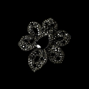 Large Antique Silver Black Rhinestone Celebrity Style Brooch for Gown or Hair - Brooch 8798 ( 2 piecers in Stock )