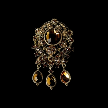 * Large Gold Brown Rhinestone Celebrity Style Brooch for Gown or Hair - Brooch 8777