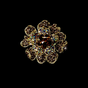 Large Gold Brown Rhinestone Celebrity Style Brooch for Gown or Hair - Brooch 8779 *1 Left