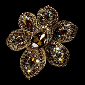 Large Gold Multi Brown Crystal Celebrity Style Brooch for Gown or Hair - Brooch 8798