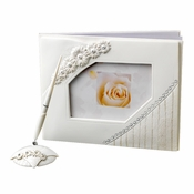 Large White Daisy Guest Book & Pen Set
